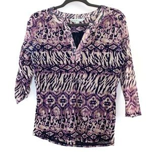 Cleo Purple Patterned Blouse Size Medium Petite